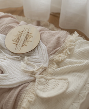 Load image into Gallery viewer, MUSHROOM DOUBLE GAUZE SWADDLE WITH CREAM FRINGE