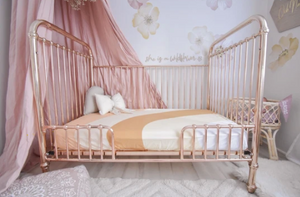 PEACH RAINBOW COT SHEET