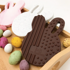 Easter Edition CHOCOLATE BUNNY Silicone Teething Disc