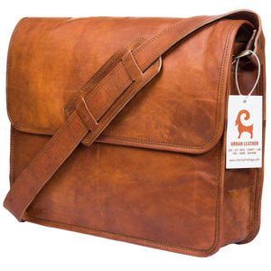 URBAN LEATHER SHOULDER MESSENGER BAG FOR MEN, 15 INCHES