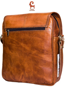 URBAN LEATHER 12 Inch Vertical Messenger Bag | Handmade Sling Satchel Brown Handbag Purse for Men Women Boys Girls Outing Travel Passport Bags with Natural Textures, Size 12 Inch