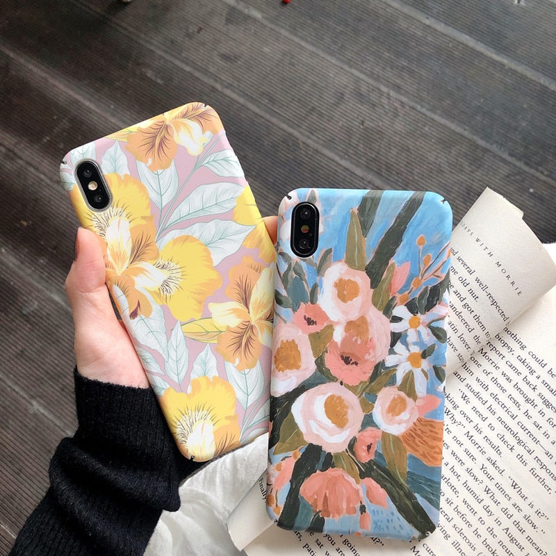 Hard PC Retro  Oil Painting  Colorful flowers Phone Case For iPhone