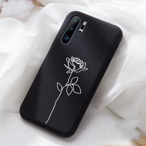 Patterned Soft Black Silicon  Mobile Phone Case For Huawei