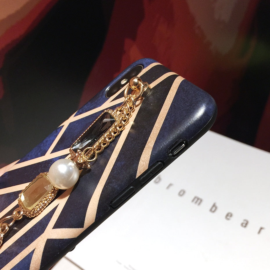 Classical Geometric  diamond pearl bracelet chain Phone Case For iPhone