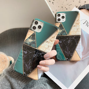Soft IMD Geometric Marble Texture Retro  Phone Cases for iPhone