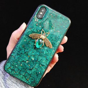 Bling Bee Marble Glitter Phone Case For iPhone