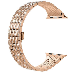 Luxury Diamond Stainless Steel Bracelet Strap For Apple Watch