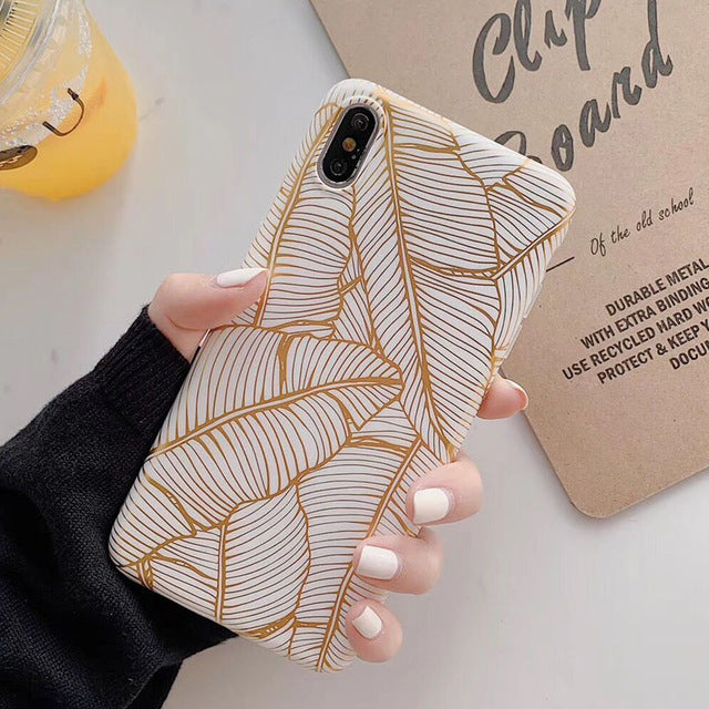 Electroplated Vintage Gold Leaf Soft IMD Full Body Back Cover For iPhone