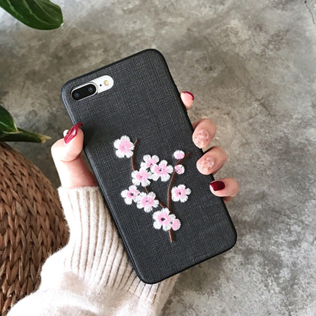 Fashion 3D Flower Pattern  Cloth Texture Cases For iPhone