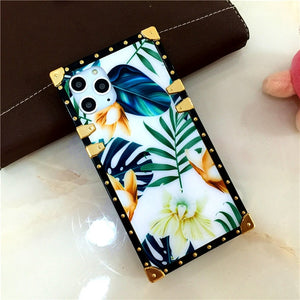 Luxury Painted Acrylic + Soft TPU Silicone Flower Design  Case for Samsung Galaxy