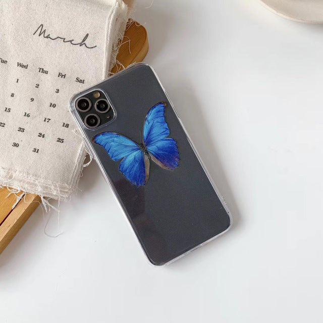 Cute Transparent Pink /Blue  Butterfly  Phone Case For iPhone