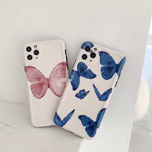 Soft IMD Geometric Matte  Pink/ Blue Butterfly Phone Cases for iPhone