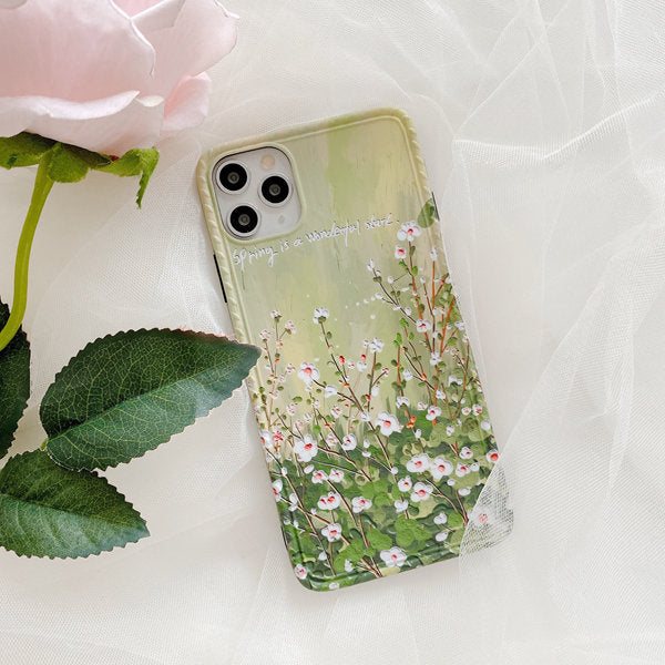 Soft IMD Hand Painted Lotus flower Phone Cases for iPhone