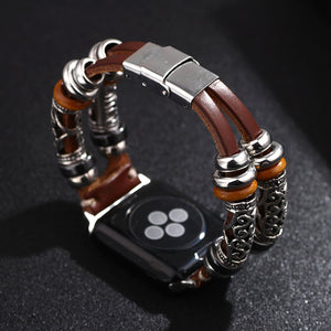 Vintage PU Leather  Embossed Replacement Bracelet Strap  For Apple Watch Series 4/3