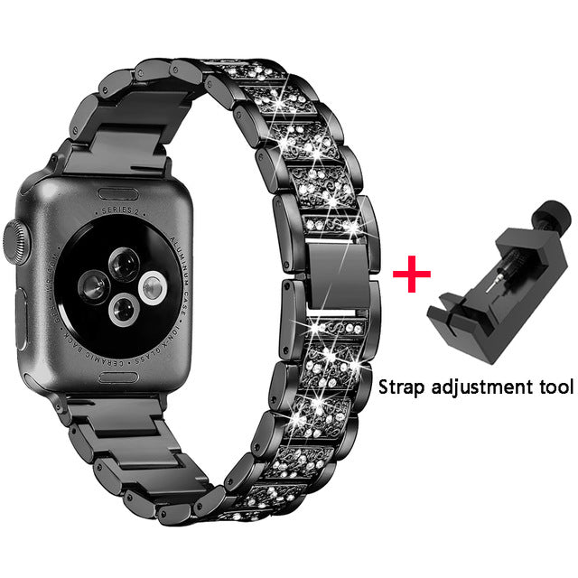 Elegant Crystal and Stainless Steel Apple Watch  Band With Protecting Case