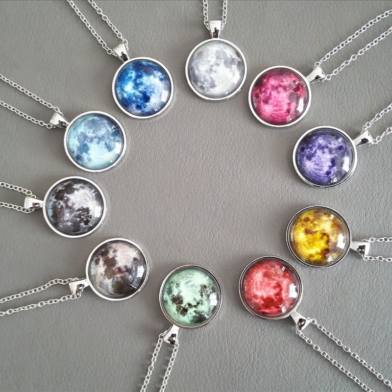 Handmade Glass Full Moon Necklace