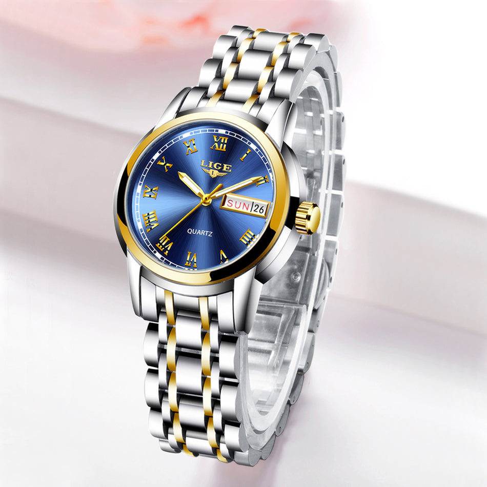 LIGE Women Watches Simple Stainless Steel Clock Casual Fashion Watch Women Sport Waterproof Wristwatch Ladies Relogio Feminino