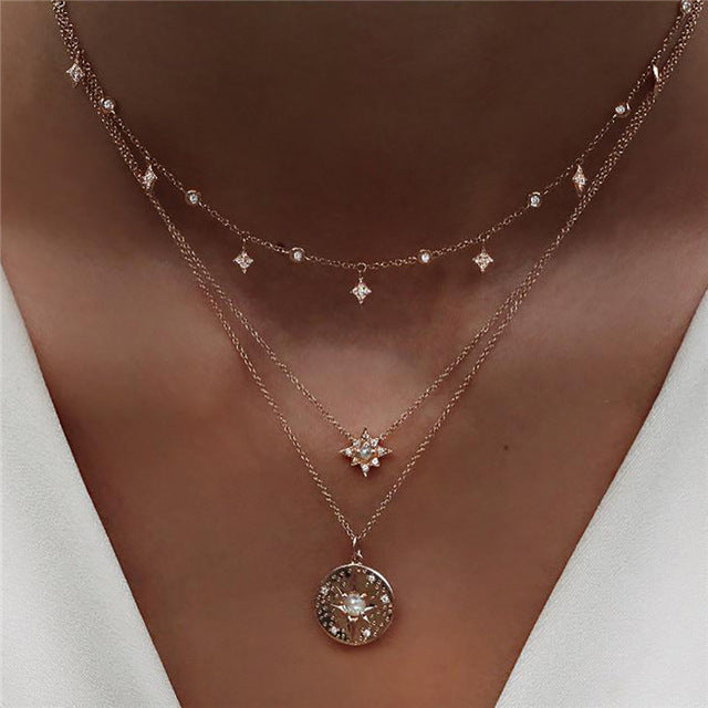 Multi-element Crystal Necklaces For Women