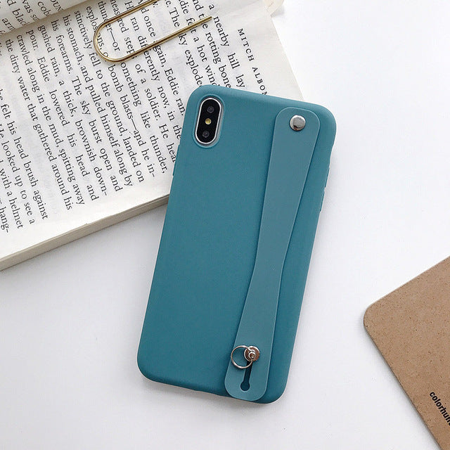 Soft TPU  Wrist Strap Phone Holder Case For iPhone XR X Xs max 11 Pro Max  7 8 6 6s