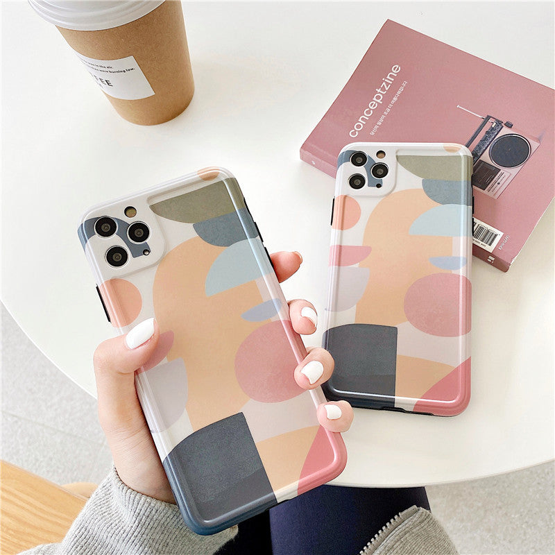 Soft Silicone Art Retro Abstract Geometric Korean Phone Case For iPhone 11 Pro Max XR X XS Max 7 7 Puls 7 8 Plus