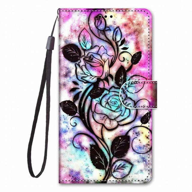 Animals/ Unicorn / Floral /  Cartoon Design Leather Flip Mobile Phone Case For Huawei Honor