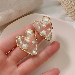 Trendy Transparent  Pearl Paved Heart Big Earrings