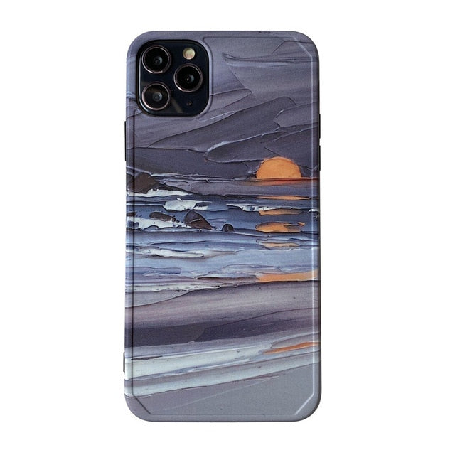 Soft IMD Silicon Ocean Sunrise Oil Painting  Phone Case For iPhone