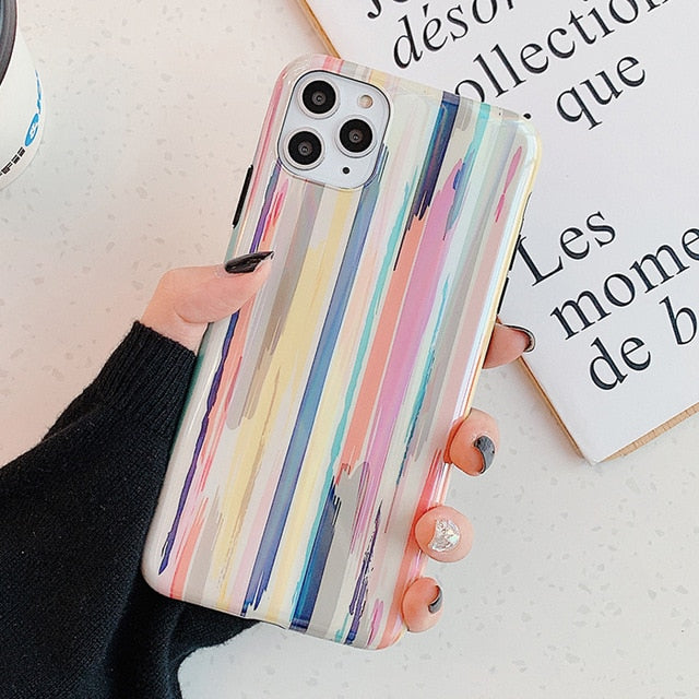Soft IMD Smooth Colorful laser Graffiti Phone Case For iPhone