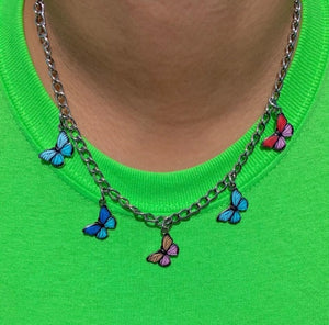 sweet colorful butterfly pendent necklace