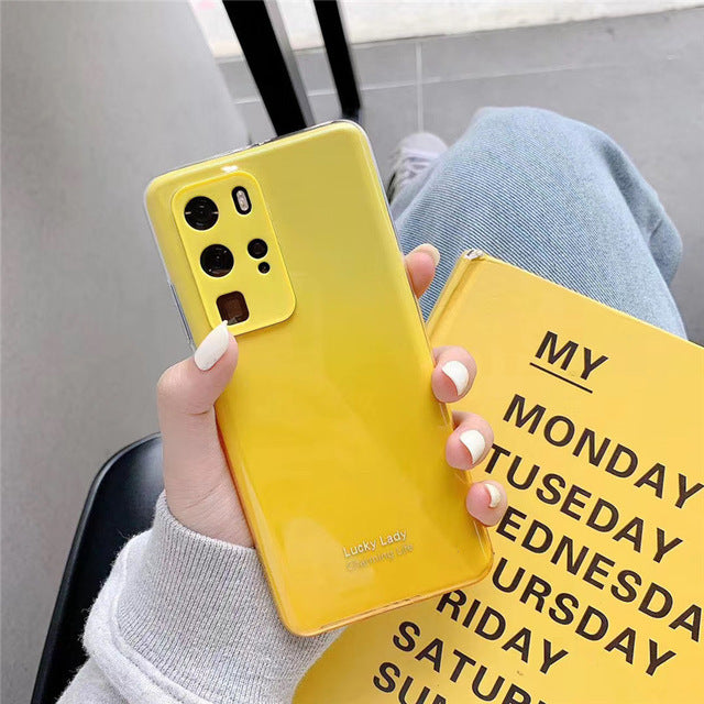 Gradient Color Camera Protect Soft Silicone Phone Case for HuaWei P30 P30pro P40 pro Mate 30 pro