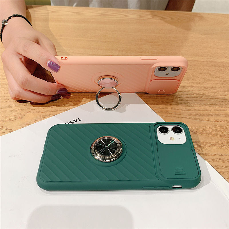Slide Camera Protection Shockproof with Ring Holder  Case For iPhone
