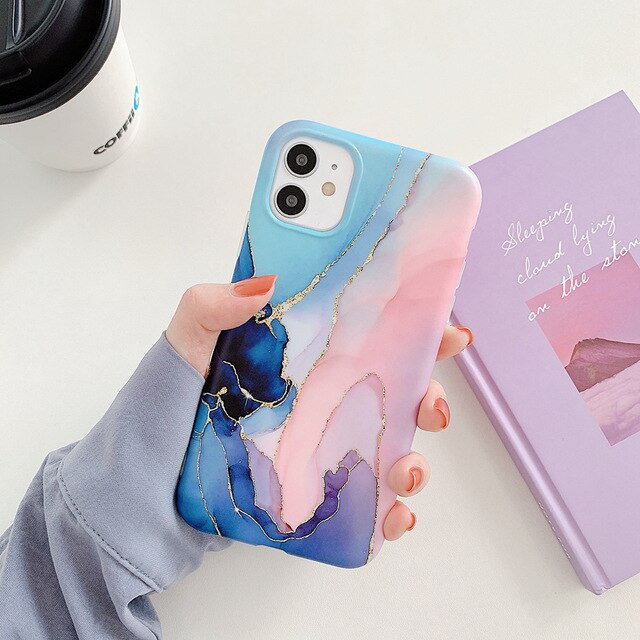 Soft IMD  Blue /Pink /Purple Marble Phone Cases for iPhone