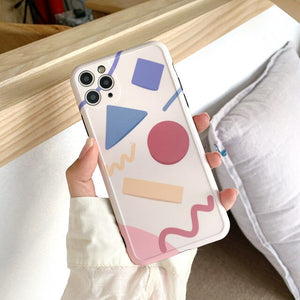 Geometric Soft IMD Silicone Phone Cases for iPhone