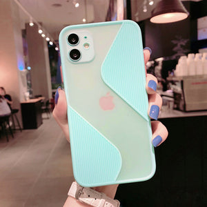 Soft Silicone Geometric Marble Casec Pink/ Purple /Blue/ Green/ Black  for iPhone