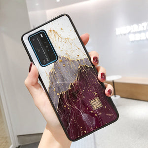 Gold Foil Glitter Marble Mountain Peak Pattern Phone Cases for Huawei P40 Pro P30 lite Mate 30 nova 6 /5