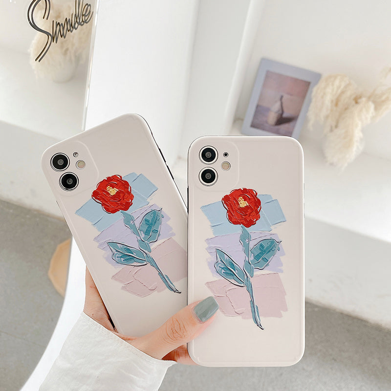 Soft Silicone  Oil Painting Rose Phone Case For iPhone