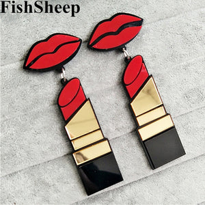 New Fashion Red  Lips and Lipsticks Drop  Earrings