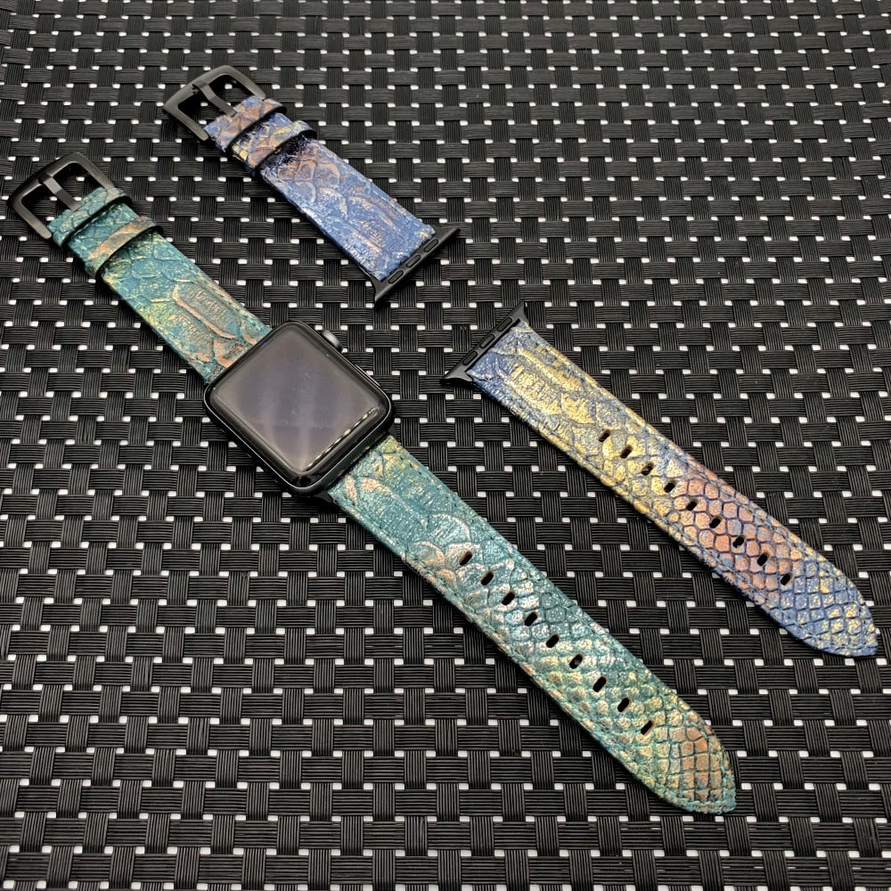 Leather Snake Skin Style Band for Apple Watch Series 4/ 3/ 2 /1  38mm 42mm 40mm 44mm
