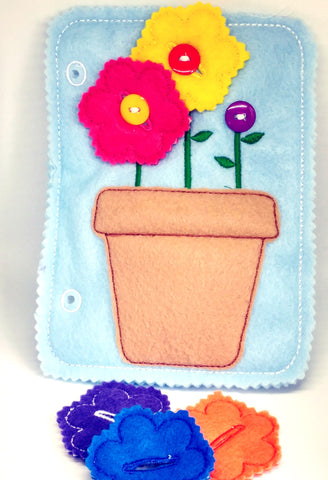 Learn to button flower pot quiet book page QB29