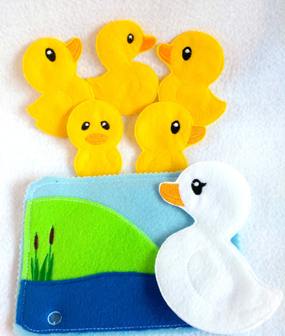 5 little ducks Felt quiet book toddler page and flannel board play set QB146