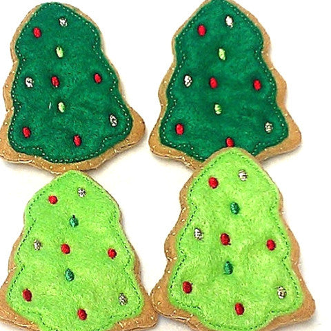 Felt Christmas Tree Cookies Wonderful play food