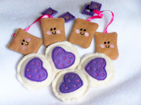 Heart cookies with colored icing and smiley face teabags play food set Wonderful for special tea parties