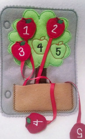 Felt quiet book page counting apple tree QB46