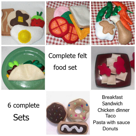 Complete Play food set includes 6 complete sets of food perfect to set up a play kitchen