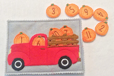 Counting numbers pumpkin Truck quiet book page numbers 1-12 QB56