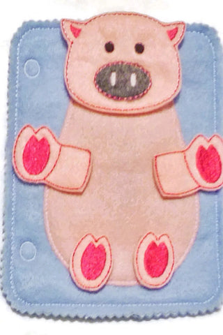 Pig build a book felt quiet book page QB89