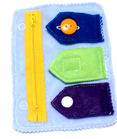 Quiet activity book addon page Closures zipper, button, snap, and velcro educational game busy bags quiet book QB1
