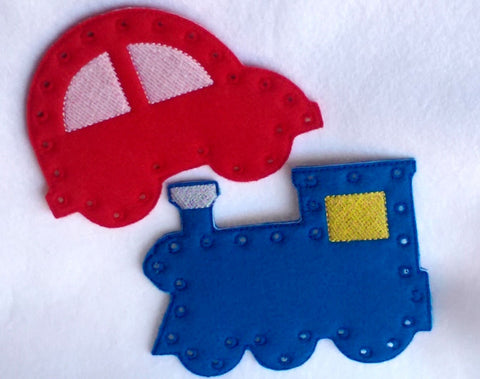 Car and Train lacing cards