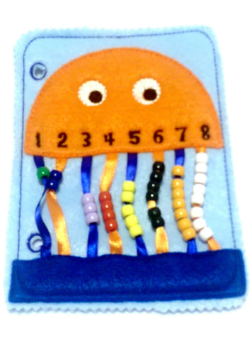 Orange Jellyfish bead counting quiet book page QB18