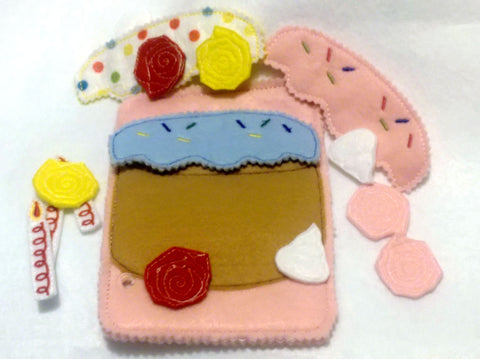 Cake felt busy book page set includes 16 pieces QB59